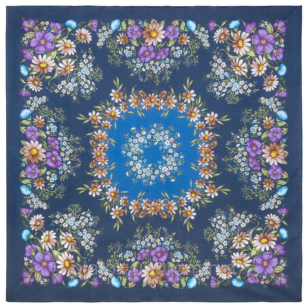 Солнечный танец 1711-14, павлопосадский платок хлопковый (батистовый) с швом зиг-заг