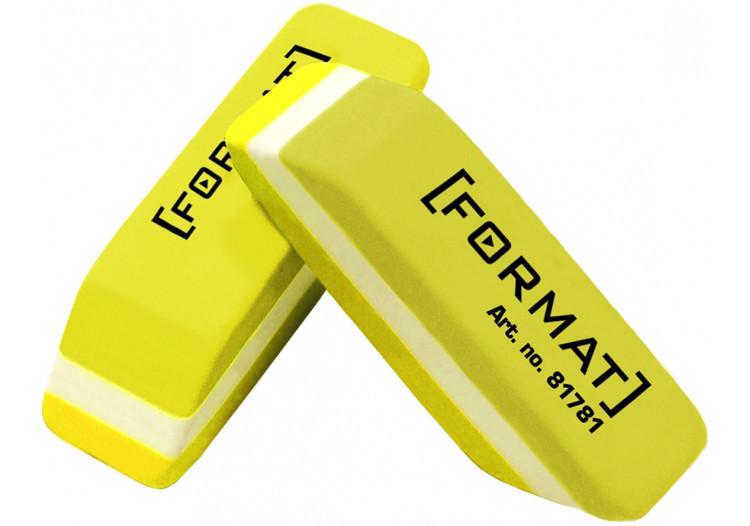 Ластик для карандаша 40*12*10 мм, желто-белый