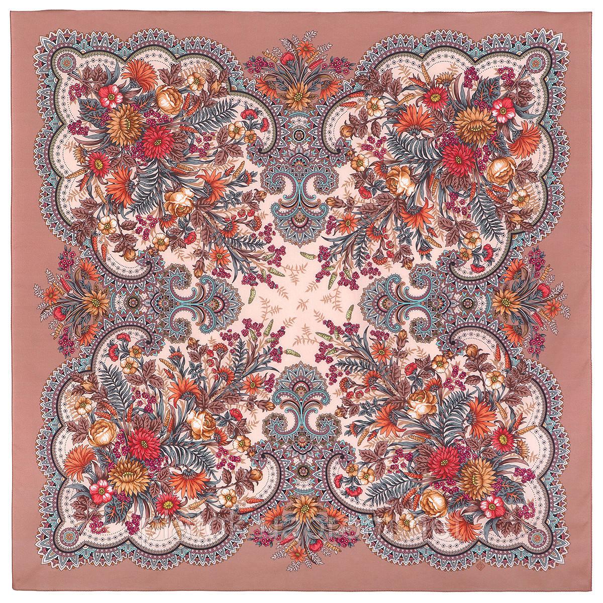 Цветущее лето 1839-4, павлопосадский платок хлопковый (батистовый) с швом зиг-заг