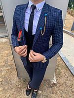 Мужской пиджак классический синего цвета в клетку