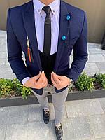 Мужской пиджак классический темно-синего цвета