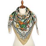 Цветущее лето 1839-2, павлопосадский платок хлопковый (батистовый) с швом зиг-заг, фото 3