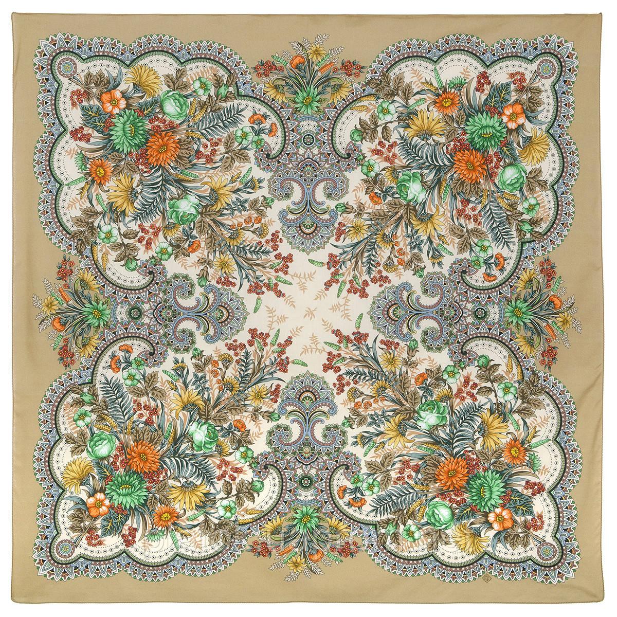 Цветущее лето 1839-2, павлопосадский платок хлопковый (батистовый) с швом зиг-заг