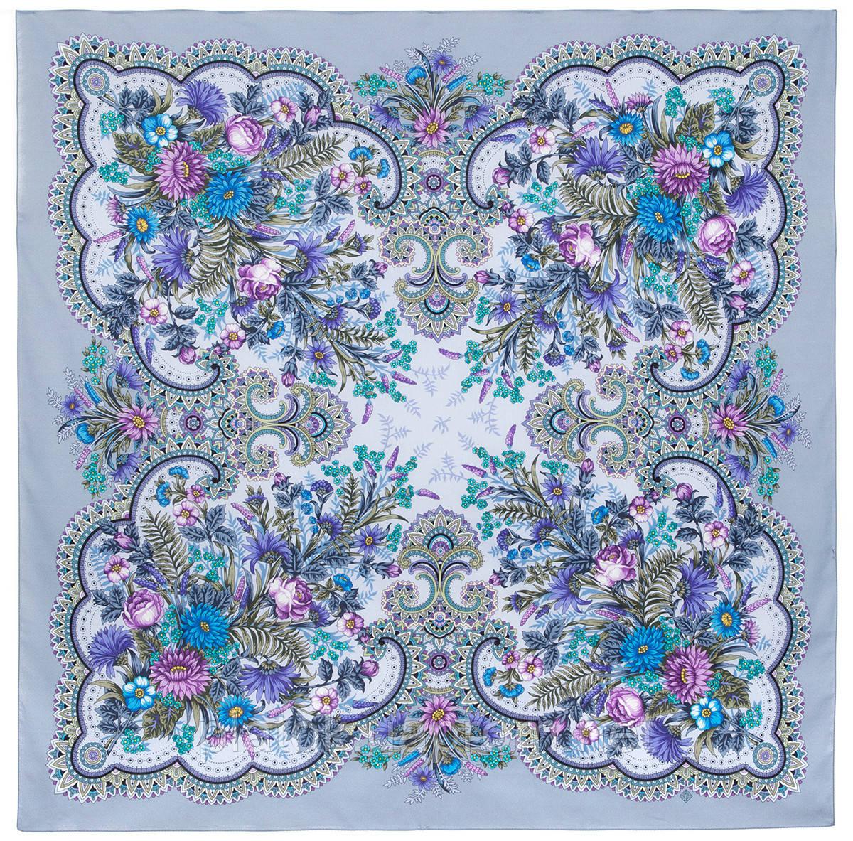 Цветущее лето 1839-1, павлопосадский платок хлопковый (батистовый) с швом зиг-заг