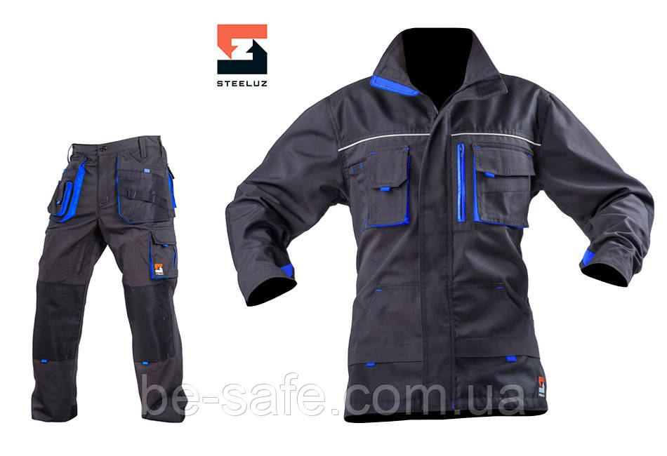 Рабочий мужской костюм с брюками SteelUZ, синяя отделка 46