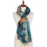 Палантин шерстяной 10718-12, павлопосадский шарф-палантин шерстяной (разреженная шерсть) с осыпкой, фото 8