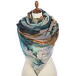 Палантин шерстяной 10718-12, павлопосадский шарф-палантин шерстяной (разреженная шерсть) с осыпкой, фото 3