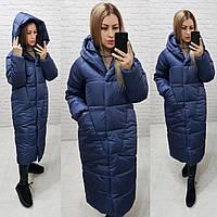 Пуховик длинный зима 2020 в стиле одеяло M500 синий / синего цвета