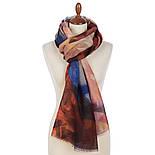 Палантин шерстяной 10718-6, павлопосадский шарф-палантин шерстяной (разреженная шерсть) с осыпкой, фото 2