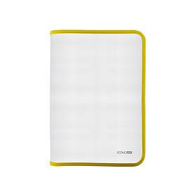 Папка-пенал пластикова на блискавці Economix А4, прозора, фактура: тканина, блискавка жовта