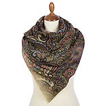 Палантин шерстяной 10794-10, павлопосадский шарф-палантин шерстяной (разреженная шерсть) с осыпкой, фото 3
