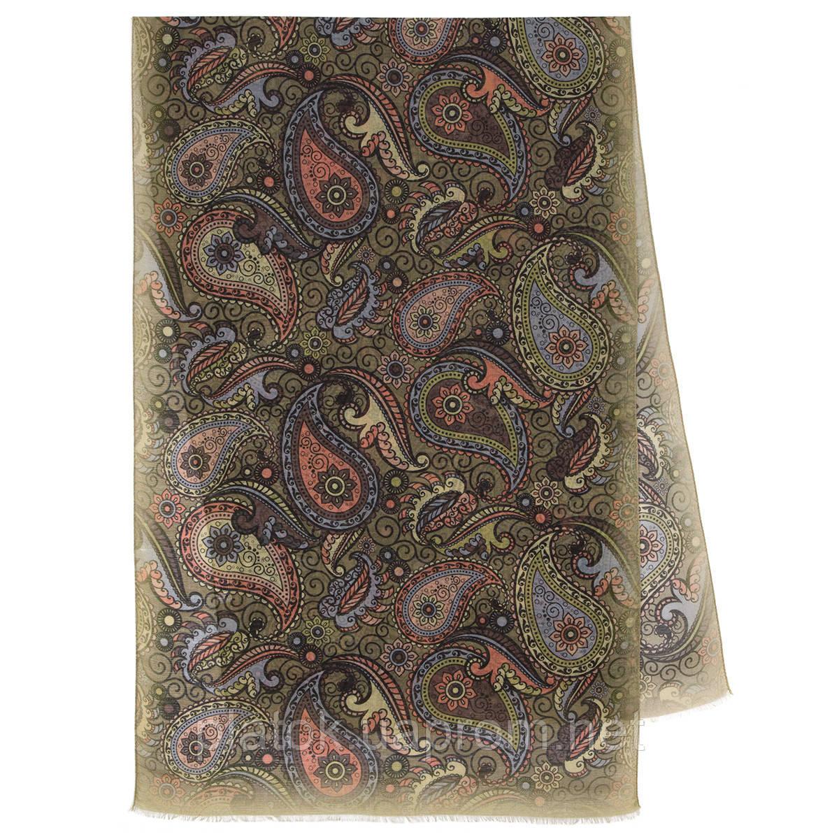 Палантин шерстяной 10794-10, павлопосадский шарф-палантин шерстяной (разреженная шерсть) с осыпкой