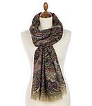 Палантин шерстяной 10794-10, павлопосадский шарф-палантин шерстяной (разреженная шерсть) с осыпкой, фото 5