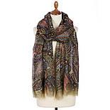 Палантин шерстяной 10794-10, павлопосадский шарф-палантин шерстяной (разреженная шерсть) с осыпкой, фото 7