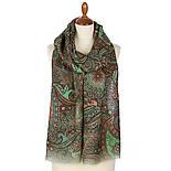 Палантин шерстяной 10794-9, павлопосадский шарф-палантин шерстяной (разреженная шерсть) с осыпкой, фото 2