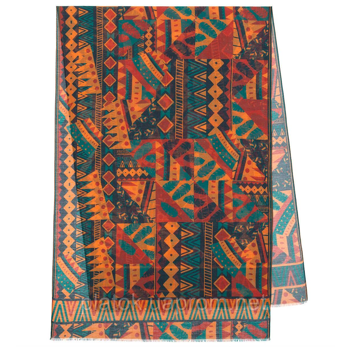Палантин шерстяной 10839-4, павлопосадский шарф-палантин шерстяной (разреженная шерсть) с осыпкой