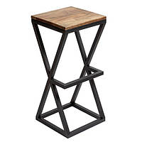 Квадратные барные стулья в стиле LOFT из черного металла и натурального дерева