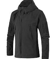 Теплая флисовая кофта куртка тактическая военная армейская с капюшоном (толстовка) ЧЕРНЫЙ РАЗМЕР L