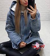 Женская джинсовая парка на меху