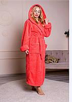 Женский длинный махровый халат