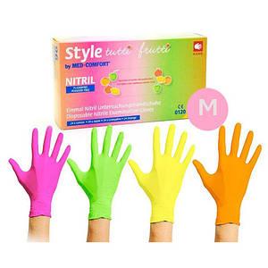Рукавички нітрилові Style кольорові М, 96 шт