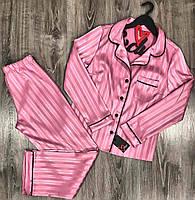 Яркая пижама женская штаны+рубашка с кантом в полосочку .