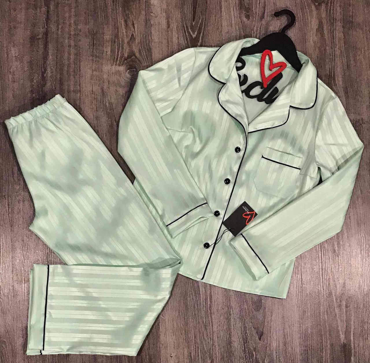 М'ятна брючна піжама Сорочка + штани. Стильний атласний комплект.