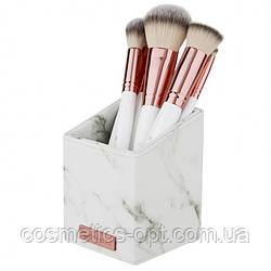 ПРИМЯТЫЕ ВЕРХНИЕ КАРТОННЫЕ КОРОБОЧКИ! Кисти для макияжа с подставкой BH Cosmetics WHITE MARBLE, 13 шт