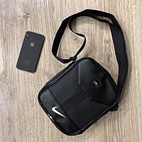 Барсетка кожаная мужская Nike X black / сумка через плечо / мессенджер