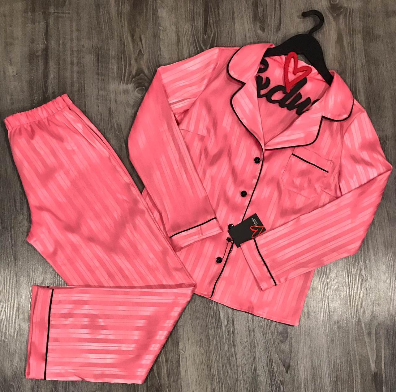 Персиковый атласный комплект женской одежды для дома Рубашка + штаны с кантом.