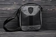 Барсетка тканевая мужская Puma Ferarri X grey / сумка через плечо / мессенджер