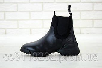 Жіночі черевики Dior D-Connect High Triple Black Chelsea чоботи (чорні)