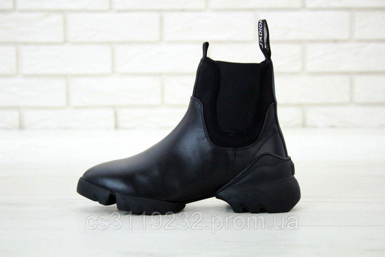 Женские ботинки Dior D-Connect High Triple Black Chelsea демисезонные (черные)