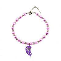 Ожерелье Сиреневая бабочка жемчужное/стразы и кулоном 30см ROT N133