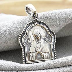 Серебряная иконка Божия Матерь Спаси и сохрани размер 31х19 мм вес 4.8 г