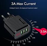 Швидке цифрове зарядний пристрій ROCK QC 3,0 3 USB порту дисплей амперметр вольтметр Колір Білий, фото 3