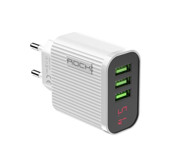 Швидке цифрове зарядний пристрій ROCK QC 3,0 3 USB порту дисплей амперметр вольтметр Колір Білий