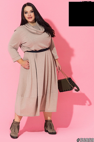 Женское трикотажное теплое платье размеры:52-62, фото 2