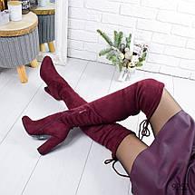 Сапоги женские ботфорты бордовые эко замша высокий каблук, фото 2