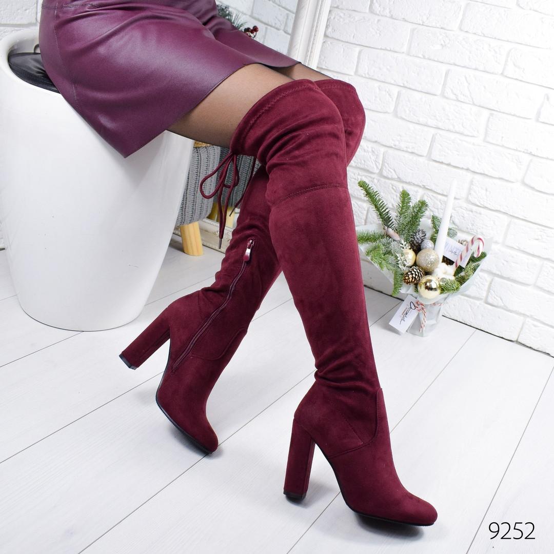 Сапоги женские ботфорты бордовые эко замша высокий каблук