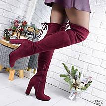 Сапоги женские ботфорты бордовые эко замша высокий каблук, фото 3