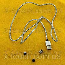 Магнітний USB кабель 2,5 А з заглушкою Lightining, Type-C, Micro USB, сіро-чорний