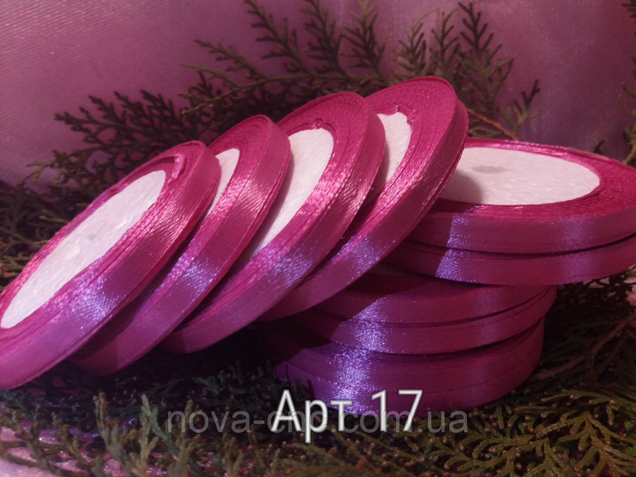 Ленты  атлас темно розовый 6 мм 23 м