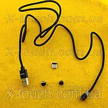 Магнітний USB кабель 3А з заглушкою Lightining, Type-C, Micro USB, чорний