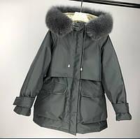 Женская парка-пуховик зимняя теплая с натуральным мехом, серая, размер S,  L, фото 1