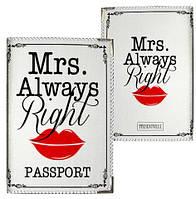 Обложка на паспорт Mrs. Always Right (PD_L021_WH)
