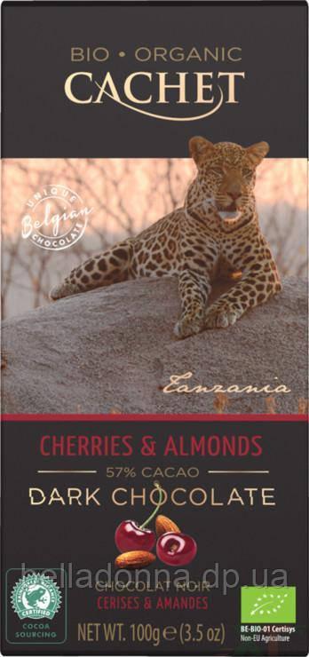 Бельгійський шоколад чорний органічно Cachet Cherries & Almonds 100 г