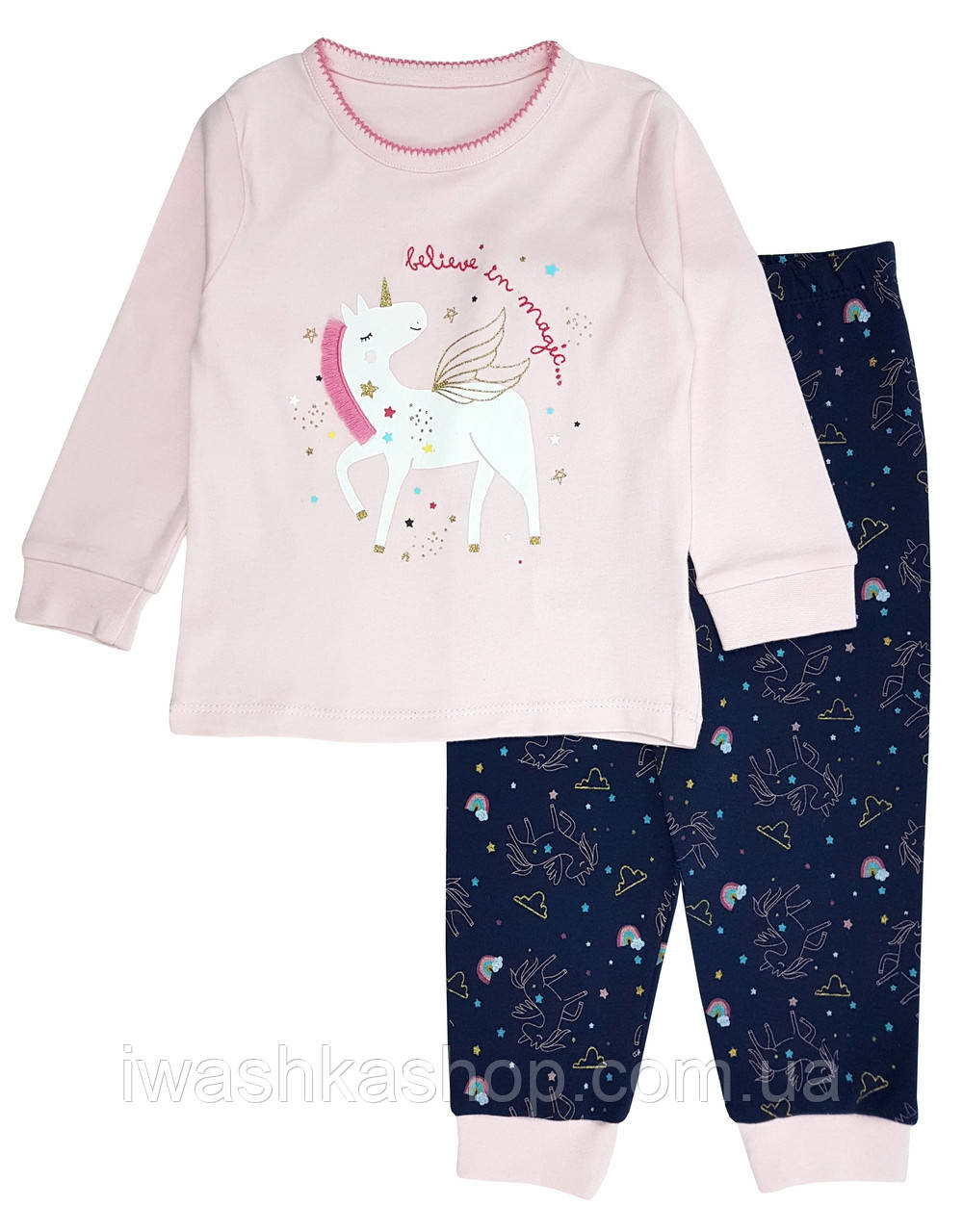 Трикотажная хлопковая пижама с единорогом на девочек 1 - 1,5 лет, р. 86, Primark