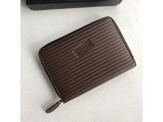 Стильный укорочённый кошелёк кожаный на молнии Jancarlo Baretti, фото 2