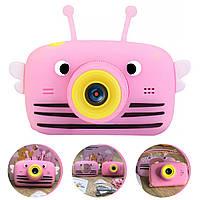 Детский цифровой фотоаппарат Smart Kids 4 серия с фронтальной камерой 20MP Full HD 1080P (Funny Bee Pink)